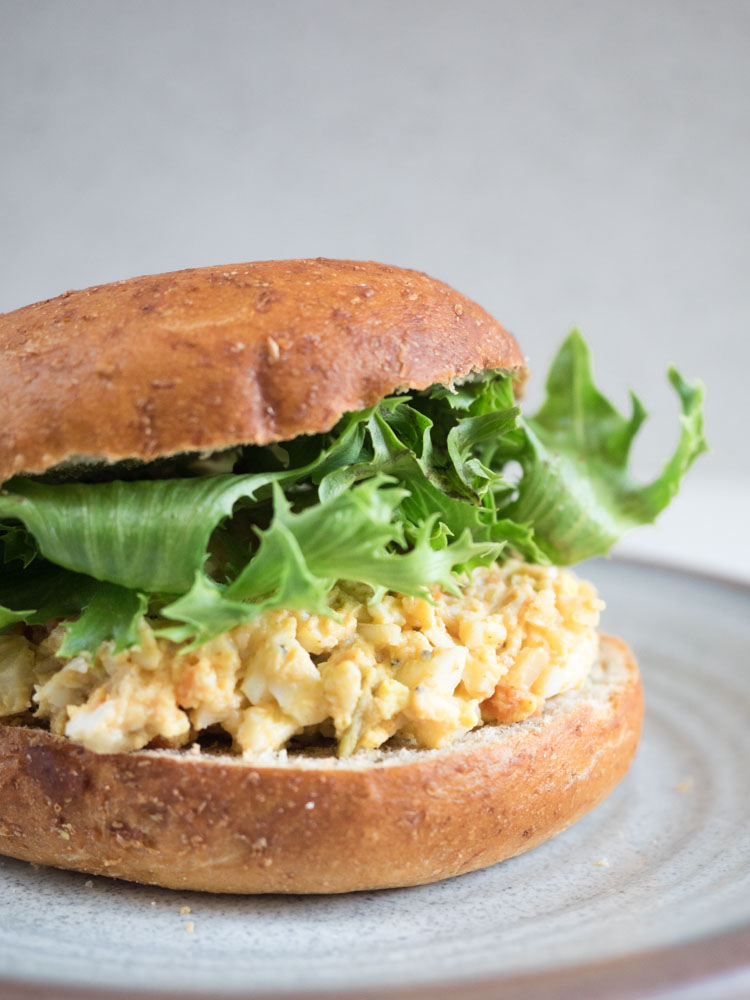 Easy Egg Salad Bagel Sandwich | The Seasoned Vegetable