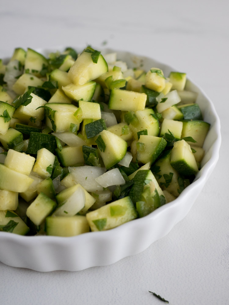 Spicy Zucchini Relish | A fresh, tangy zucchini relish for topping quesadillas and burritos! Lightly pickled with a bit of heat, it's a perfect summer condiment. | SeasonedVegetable.com