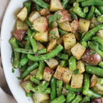 Vegan Potato Salad with Green Beans | A vegan potato salad with fresh green beans is great for summer picnics and weeknight dinners. Tossed with lemon juice and fresh herbs, it's a perfect gluten free side dish. | SeasonedVegetable.com