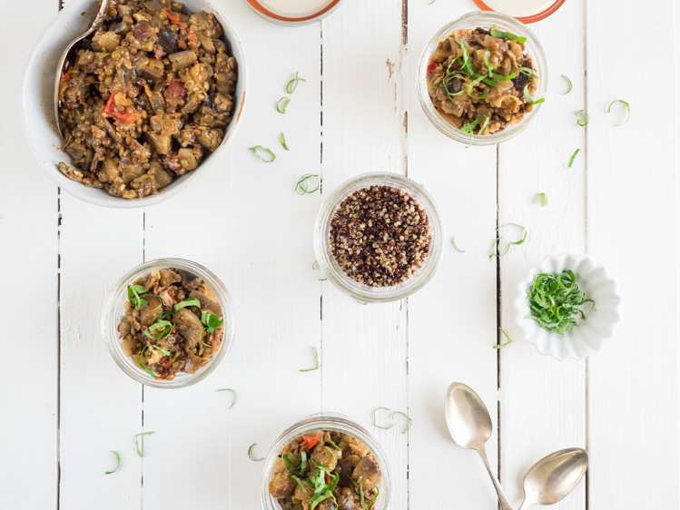 Eggplant Caponata Picnic Jars | An easy vegan recipe, this eggplant caponata packs perfectly in picnic jars with quinoa or other whole grain. Great for lunch, dinner, and meals on the go. | SeasonedVegetable.com