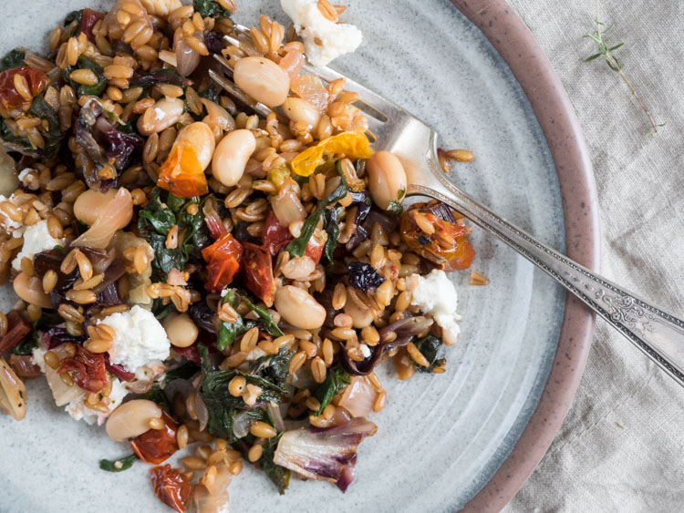Farro with Radicchio and Chard   A hearty casserole style dish of whole grain farro with radicchio and chard. Easy, filling, and perfect for cooler fall weather.   SeasonedVegetable.com #vegetarian #wholegrain #fall
