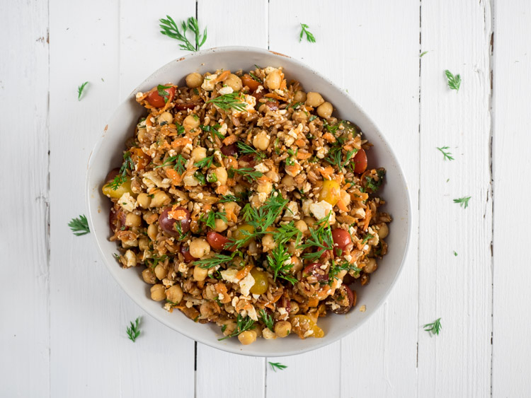 Soliday Sister Farro Salad | A flexible, collaborative farro salad that features carrots and their tops alongside a garlic infused olive oil dressing. | SeasonedVegetable.com #fallrecipe #wholegrains #vegetarian