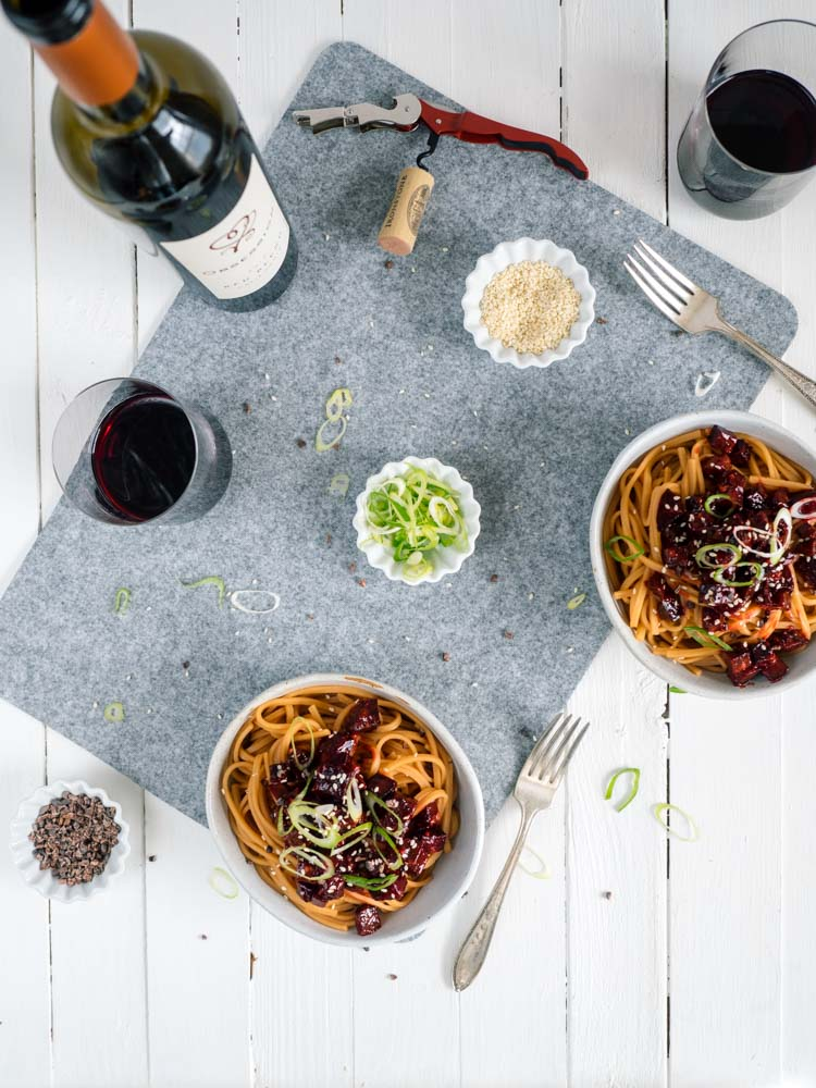 Asian Roasted Beets with Tea Infused Noodles | These Asian roasted beets are paired with tea infused noodles and a bold red wine. Hints of sweet cocoa and spicy gochujang make it the perfect winter dish. | SeasonedVegetable.com #chefobsessed #roastedbeets #vegetarianrecipe